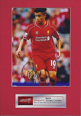 Philippe Coutinho Signed Photo Autograph Mount Display,Pre-Print, Size A4