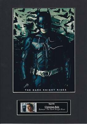 "Christian Bale ""batman dark knight"" Signed Autograph Photo Mount Display, PP A4"