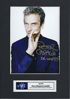 Dr Who Peter Capaldi Signed Photo Autographed Mount Display, Pre-Print Size A4