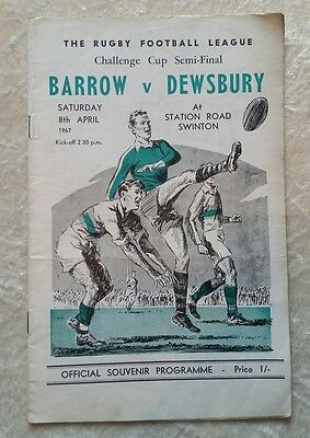 Barrow v Dewsbury 1967 Challenge Cup Final Match Rugby League Programme