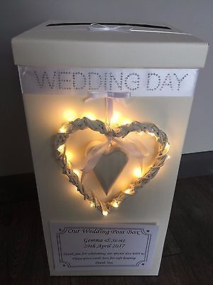 Personalised Wedding Card Post Box LED lights Heart Wedding Day - White Bows
