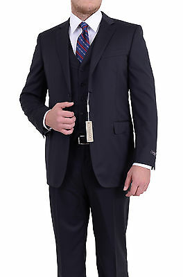 Canali Slim Fit 42l 52 Drop 8 Solid Navy Blue Two Button Three Piece Wool Suit