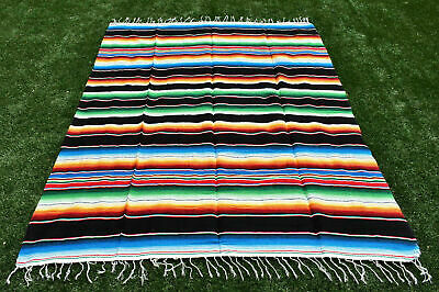 green Saltillo Serape Striped Fringed Table Runner Rug Blankets mexican rug taco