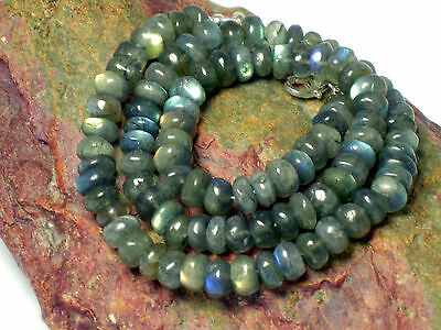 LABRADORITE   Beaded  Gemstone  Necklace  Sterling  Silver  925  - Gift  Boxed
