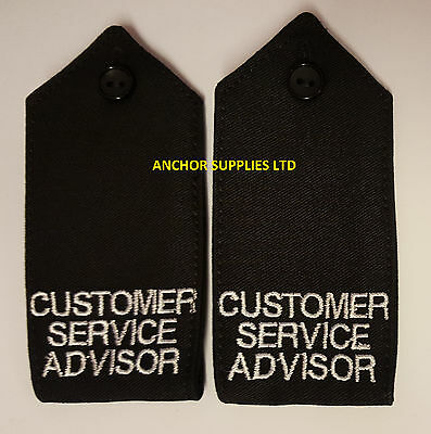 2 Sets x Customer Service Advisor Epaulettes Button Down 2 Pairs Supplied (E13)