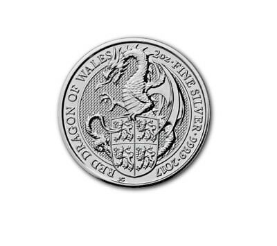 5£ Silber / Silver Großbr. The Queen´s Beasts Red Dragon of Wales 2017 2 OZ