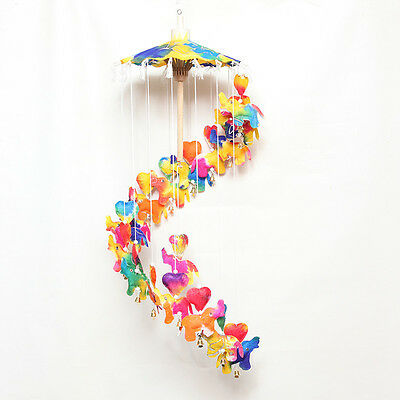 Rainbow Elephant Hanging Fair Trade Heart Bell Mobile Paper Nursery Playroom