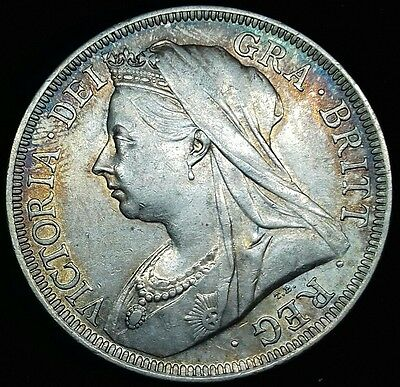 1899 Sixpence. Stunning Rainbow Tones. Victoria British Silver Coins