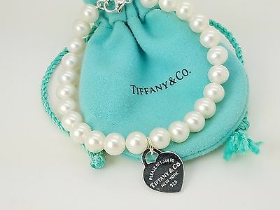 Return To Tiffany & Co. Sterling Silver Heart Tag 7.5' Pearl Bead Bracelet Pouch