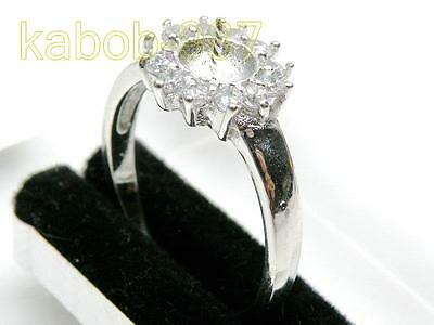 18K White Gold 925 Sterling Silver 7-10mm Pearl Ring Setting FInding Jewelry CZ