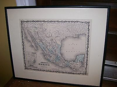 antique map Mexico Johnson &Ward hand colored