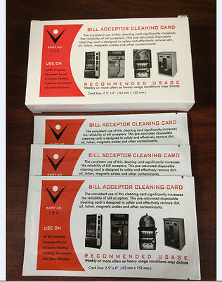 50 pk  Dollar Bill Validator Acceptor Pre-saturated Cleaning Card -ALCOHOL FREE