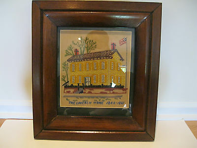 """Antique Framed Embroidery Titled """"The Lincoln Home 1884-1861"""""""