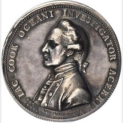 (1776) Betts-553 Captain Cook Royal Society Silver Medal  / Pcgs Sp62