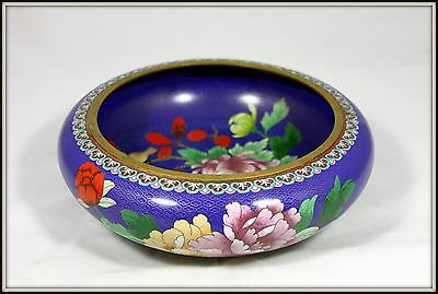 """Stunning!  """"Hand Made Chinese Cloisonne Bowl"""" Blue with Chrysanthemums (12"""" Dia)"""