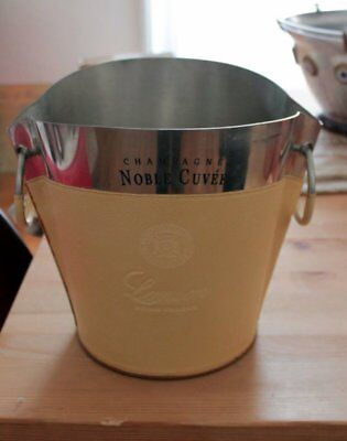 SPENDID PEWTER and LEATHER BIG BUCKET / BOWL  FRENCH CHAMPAGNE MERCIER