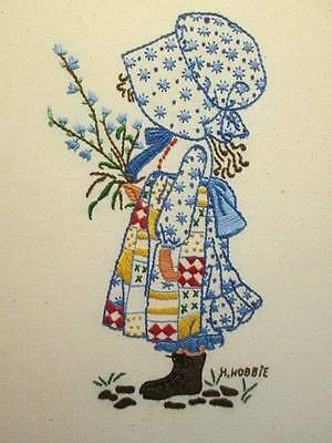 Finished Holly Hobbie Crewel Embroidery Picture- 8x12 Inches Design Area