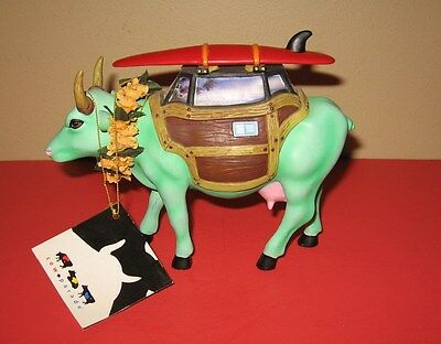 """Westland 2002 Cow Parade"""" Cow-A-Bunga! """" #9148, Surfer in Woody Retired"""