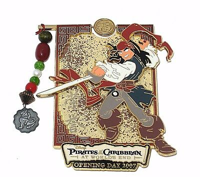 LE JUMBO Disney Pin✿Pirates of Caribbean Jack Sparrow Opening Day Spinner Dangle