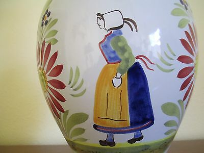 QUIMPER Pottery, H B QUIMPER Signed 24 inch Electric Table Lamp