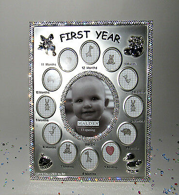 Baby First Year Newborn Picture Frame NEW Custom Bling with Swarovski Crystals
