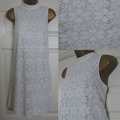 NEW F&F Floral Lace Swing Party Dress High Neck Retro White Summer Sz 6-22