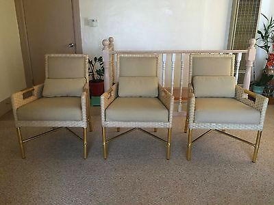 Set of 3 McGuire Furniture Ivory and Gold Dining Chairs