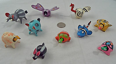 Lot of 10 Assorted Bobble Head Animals Various Colors Elephant Fish Pig Bunny