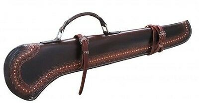 SHOWMAN® 34 INCH TOOLED LEATHER GUN SCABBARD w/ COPPER BUCKLES 176139 FREE SHIP