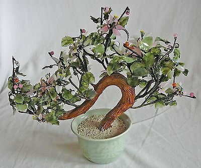 Ceramic floral bonsai tree, potted and weighted, decorator item