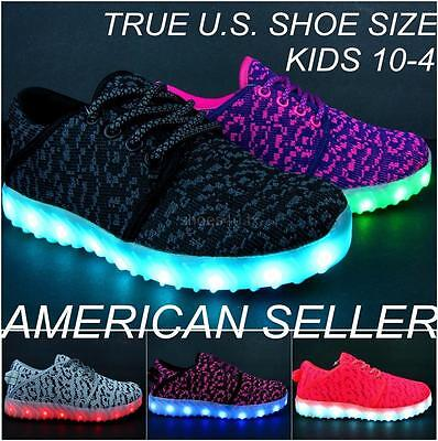 Kids Light Up Shoes Boys Girls LED Sneakers Luminous USB Charger Lace Athletic