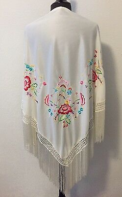 "Silk Embroidered Piano Shawl Wrap white Floral Triangle 7"" Fringe Vintage"