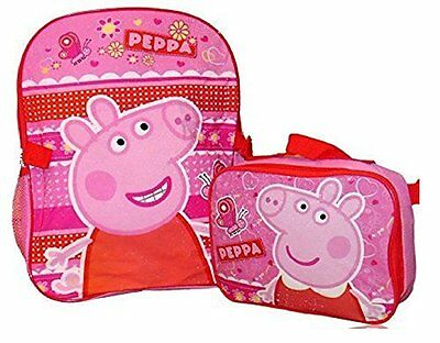 """Peppa Pig Girls 16"""" School Backpack With Lunch Bag Combo"""