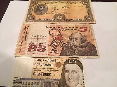 3 Five Pound Ireland Banknotes - Series A, B and C !!