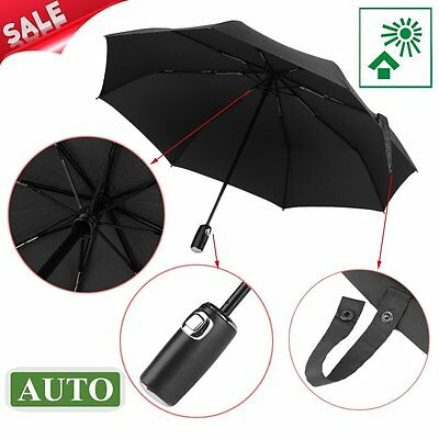 9 Ribs Glass Fiber Full Automatic 3 Folding Umbrella Windproof Rainproof LOT SM