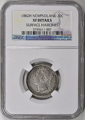 Newfoundland 1882-H Silver 20 Cents NGC XF Details