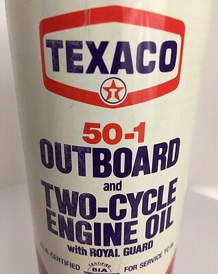 "*VINTAGE* TEXACO OIL CAN ""FULL"" Poptop Outboard Motor 2 Cycle  50-1 16 oz Pint"