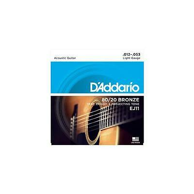 D'Addario EJ11 80/20 Bronze Acoustic Guitar Strings Light Gauge 12-53