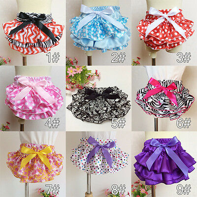 New Satin Baby Girls Toddler Clothes Dot Bloomer PP Pants Bow Shorts 0-1 Years