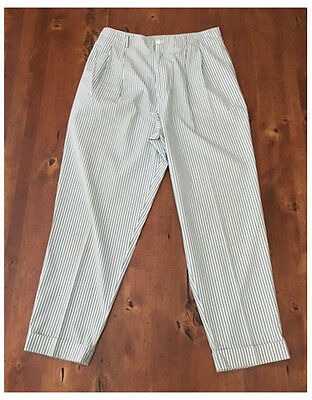 Vintage 80s High Waisted Pinstriped Baggy Pants Cotton White Light Blue Gap 12