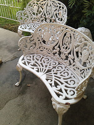 Pair Victorian Ornate Cast Iron White Garden Benches