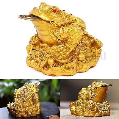 Feng Shui Lucky Gilded Frog Toad Money Three Legs Ingot Coin Furnishings Decor