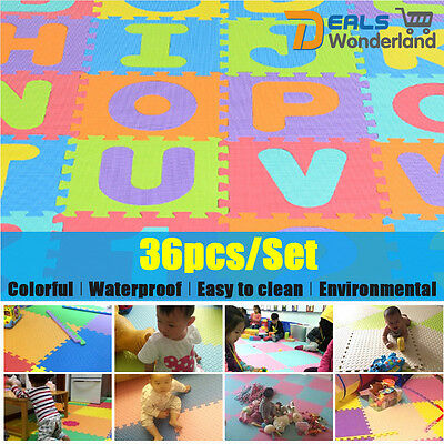 Kid Foam Learning Alphabet ABC Floor Play Mats Tiles 36PCS  Letters Puzzle