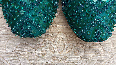Green Ladies Indian Leather Backless/Slipper/Wedding Mules Size 4