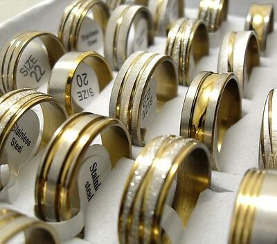 350pcs Top Mix Gold Stainless Steel Rings Wholesale Men Women Jewelry Job Lot
