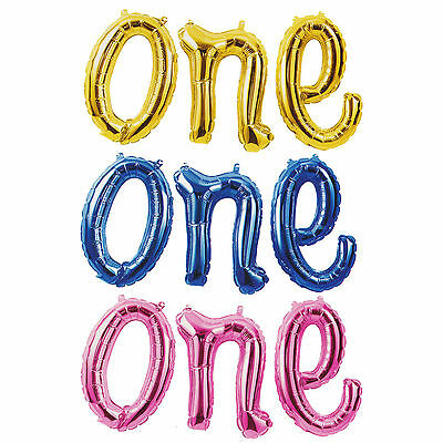 Foil One Script Balloon Baby First Birthday Party Banner 1St Pink Gold Blue