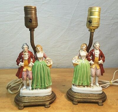 Pair of Vintage Table Lamps~ Hand-Painted Porcelain Victorian Couple Brass Bases