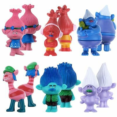 6PCS Set DreamWorks Movie Trolls Poppy 3″ Figures Collectable Doll Gift New