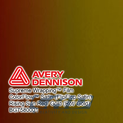 1 m (75,00 € / m) Avery Supreme Car Wrapping Film Folie ColorFlow rot/gold