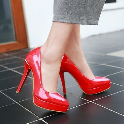 Womens Sexy Patent Leather Pointed Toe High Heel Pumps Shoes AU Size 2.5-13 C368
